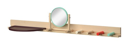 Ikea PS 2014 wall rail with shelf mirror and 4 knobs